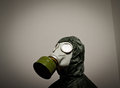 Gas mask man wearing a on his face Stock Photos