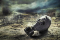 Gas mask in quemical war photo composite the aftermath of Royalty Free Stock Image