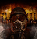 Gas mask war soldier in polluted danger city a is wearing a a scary with smokestacks the background for a or hazard concept Stock Image