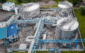 Gas and oil industrial from aerial view Stock Image