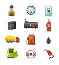Gas oil station vector set.