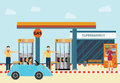 Gas petroleum petrol refill station cars and customers shopping service drinking water vending machine vector illustration Royalty Free Stock Photography