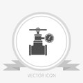 Gas pipe valve and pressure meter vector icon Royalty Free Stock Photo
