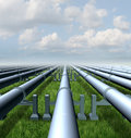 Gas pipeline concept as a group of three dimensional metal pipes transporting liquids and fuel energy gases and petroleum oil Royalty Free Stock Image