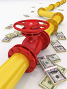 Gas pipeline d rendered with money Royalty Free Stock Photos
