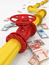Gas pipeline d rendered with money Stock Image