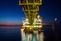 Gas platform or rig platform in sunset or sunrise time Royalty Free Stock Photos