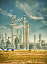 Gas processing factory landscape with and oil industry Stock Photos