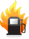 Gas pump on fire illustration design Royalty Free Stock Photo