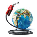 Gas pump and hose connected to the earth. 3D illustration Royalty Free Stock Photo
