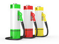 Gas pump nozzles in a fuel station Royalty Free Stock Images