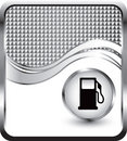 Gas pump on silver checkered wave background Stock Photos