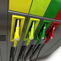 Gas pumps in colors Stock Photography