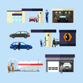 Gas station, car wash and repair shop concept vector isolated objects, icons Royalty Free Stock Photo