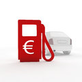Gas station and a euro symbol d rendered Stock Photography