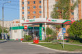 Gas station gas station in the city of cheboksary chuvash rep republic russia Royalty Free Stock Image