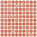 100 gas station icons hexagon orange