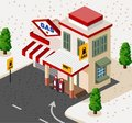 Gas Station Isometric Royalty Free Stock Photo