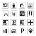 Gas station, mall and motel icons Stock Photos