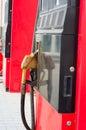 Gas station the petrol pump close Royalty Free Stock Photos