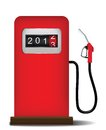 Gas station pump with fuel nozzle Royalty Free Stock Photos