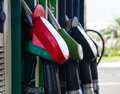 Gas station pumps row of pupmps close up Royalty Free Stock Photos