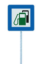 Gas station road sign green energy concept gasoline fuel filling traffic service roadside signage isolated blue petrol fuel tank Stock Photo