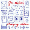 Gas station set. Hand-drawn cartoon collection of petrol icons - fuel, can, road sign, pump. Vector illustration Royalty Free Stock Photo
