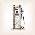 Gas station sketch style vector illustration