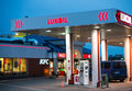 Gas station tanking car at a lukoil by night in poznan poland Royalty Free Stock Image