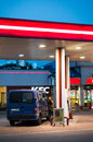 Gas station tanking car at a lukoil by night in poznan poland Royalty Free Stock Photos