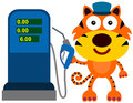 Gas station tiger a cute illustration of a working as a attendant Stock Photos