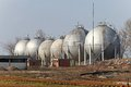 Gas storage several tanks for liquefied natural Stock Photography