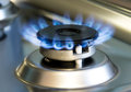 Gas stove enabled with flames of burning studio shot Stock Image