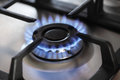Gas stove focus center burner Stock Photos