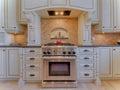 Gas stove in luxury kitchen Royalty Free Stock Photo