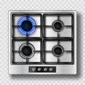 Gas stove top view with blue flame and steel grate Royalty Free Stock Photo