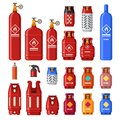 Gas tank. Gaz cylinders with acetylene, propane or butane. Petroleum fuel in safety cylinder. Helium in metal tank Royalty Free Stock Photo