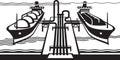 Gas tank terminal with LNG cargo ships