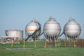 Gas tanks for petrochemical plant on the blue sky Royalty Free Stock Image