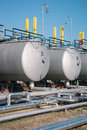 Gas tanks for petrochemical plant on the blue sky Royalty Free Stock Photo