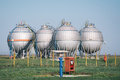 Gas tanks for petrochemical plant on the blue sky Stock Images
