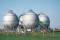 Gas tanks for petrochemical plant on the blue sky Stock Image