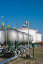 Gas tanks for petrochemical plant on the blue sky Royalty Free Stock Photos