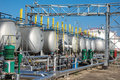 Gas tanks for petrochemical plant on the blue sky Stock Photos