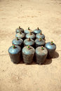 Gas tanks rows of filled with flammable in the street morocco Stock Photography