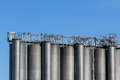 Gas tanks a suite of on an industrial field outside vienna austria Stock Photography
