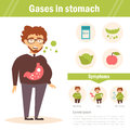 Gases in stomach. Vector.