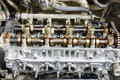 Gasoline car engine under repair closeup of Royalty Free Stock Photography