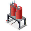 Gasoline cistern, isometric building info graphic. Diesel, fuel supply resources.